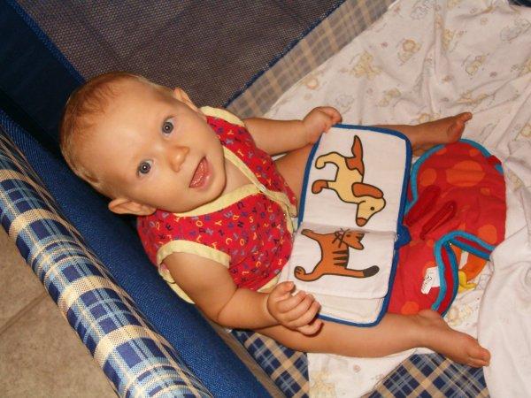 Leilani in her playpen